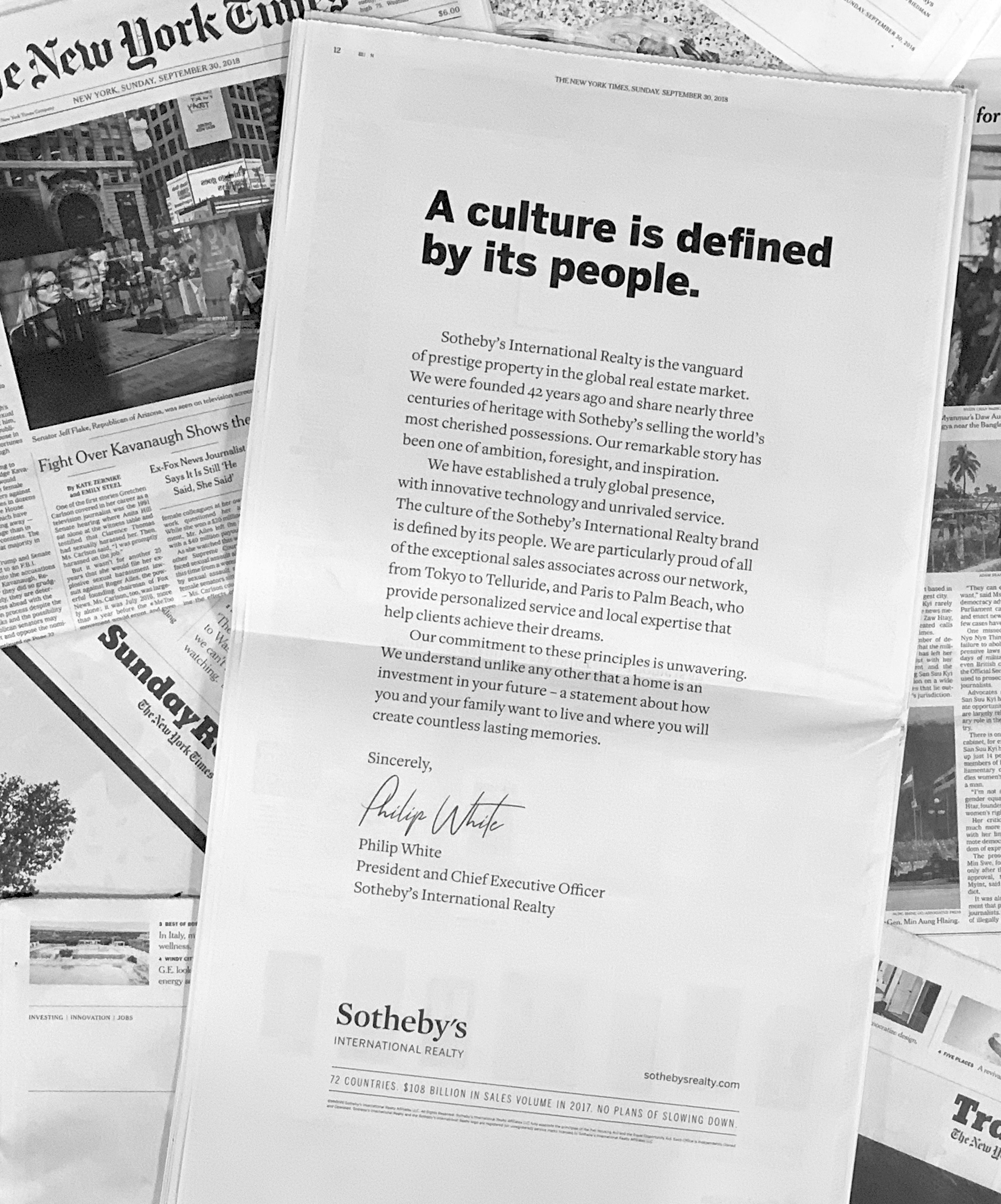 Letter from Sotheby's International Realty President & CEO